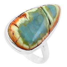 17.69cts natural brown imperial jasper 925 silver solitaire ring size 9 p19815