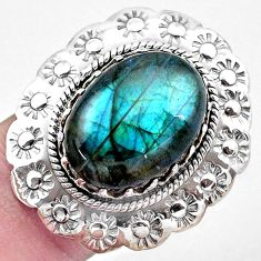 925 silver 10.74cts natural blue labradorite solitaire ring size 6.5 p20060