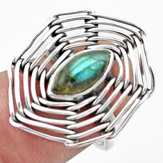 925 silver 2.44cts natural blue labradorite solitaire ring jewelry size 6 p20073