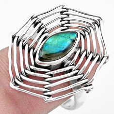 2.51cts natural blue labradorite 925 silver solitaire ring jewelry size 8 p20075