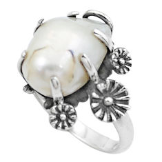6.58cts natural white pearl 925 silver flower solitaire ring size 7.5 p20091