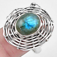 5.35cts natural blue labradorite 925 silver solitaire ring size 8.5 p20093