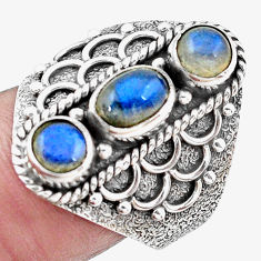 3.13cts natural blue labradorite 925 sterling silver ring size 8.5 p20139