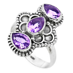 4.42cts natural purple amethyst 925 sterling silver ring jewelry size 8 p20140