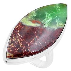 24.00cts natural brown boulder chrysoprase silver solitaire ring size 8.5 p20180