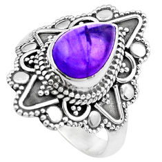 2.34cts natural purple amethyst 925 silver solitaire ring jewelry size 7 p20231