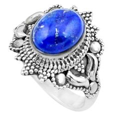 4.30cts natural blue lapis lazuli 925 silver solitaire ring size 7 p20232