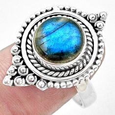 5.75cts natural blue labradorite 925 silver solitaire ring jewelry size 9 p20233