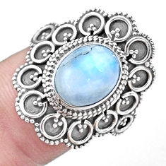 4.02cts natural rainbow moonstone 925 silver solitaire ring size 7.5 p20240