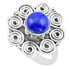3.19cts natural blue lapis lazuli 925 silver solitaire ring size 8 p20262