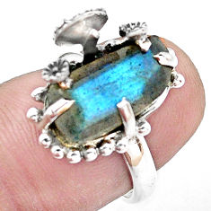 5.38cts natural blue labradorite 925 silver solitaire ring jewelry size 6 p20263