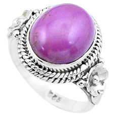 5.16cts natural purple phosphosiderite 925 silver solitaire ring size 6.5 p20271