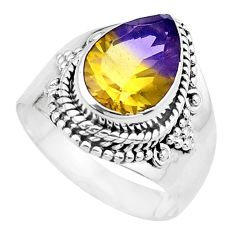 925 silver 4.70cts multi color ametrine (lab) pear solitaire ring size 7 p20273