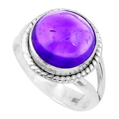 6.36cts natural purple amethyst 925 silver solitaire ring jewelry size 7 p20286