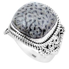 Natural black stingray coral from alaska 925 silver solitaire ring size 8 p20289