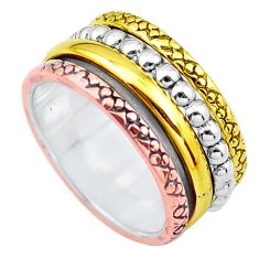 Victorian 925 sterling silver two tone band ring jewelry size 7 p20299