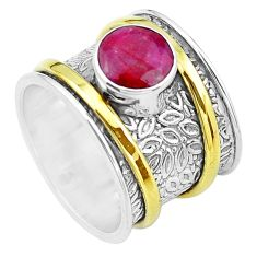 925 silver victorian natural red ruby two tone solitaire ring size 6.5 p20300