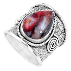 925 silver 6.80cts natural brown moroccan seam agate ring size 6.5 p20316