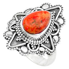 2.41cts red copper turquoise 925 silver solitaire ring jewelry size 6 p20366