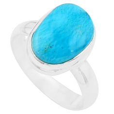 5.16cts natural blue larimar 925 silver solitaire ring jewelry size 7.5 p20387