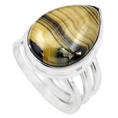 Natural yellow schalenblende polen 925 silver solitaire ring size 7 p20403
