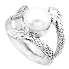 3.83cts natural white pearl 925 silver snake solitaire ring size 8 p20433