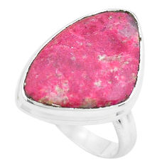 11.57cts natural pink thulite 925 silver solitaire ring jewelry size 7 p20504