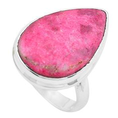 13.77cts natural pink thulite 925 silver solitaire ring jewelry size 6.5 p20516