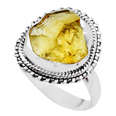 9.86cts yellow citrine rough 925 sterling silver solitaire ring size 8.5 p21322