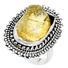 10.04cts yellow citrine rough 925 silver solitaire ring jewelry size 7 p21340