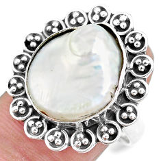 10.01cts natural white pearl 925 sterling silver solitaire ring size 8 p21402