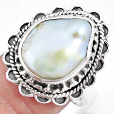 10.64cts natural white pearl 925 silver solitaire ring jewelry size 8.5 p21405