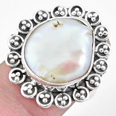 10.69cts natural white pearl 925 silver solitaire ring jewelry size 7 p21406