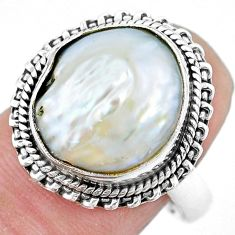 9.42cts natural white pearl 925 sterling silver solitaire ring size 8 p21407
