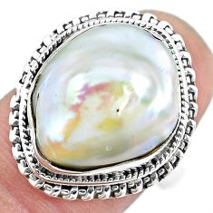 925 silver 10.01cts natural white pearl solitaire ring jewelry size 7 p21409