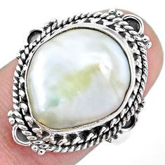 11.00cts natural white pearl 925 silver solitaire ring jewelry size 8 p21410
