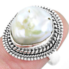 10.37cts natural white pearl 925 silver solitaire ring jewelry size 8 p21412