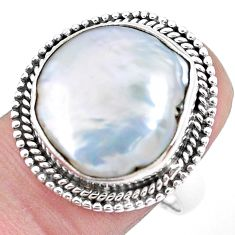 11.02cts natural white pearl 925 silver solitaire ring jewelry size 8 p21413