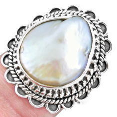 10.70cts natural white pearl 925 silver solitaire ring jewelry size 7.5 p21414