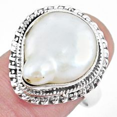 9.98cts natural white pearl 925 sterling silver solitaire ring size 7.5 p21415