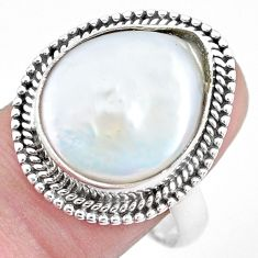 925 silver 10.01cts natural white pearl solitaire ring jewelry size 7.5 p21417