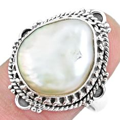 11.02cts natural white pearl 925 silver solitaire ring jewelry size 8.5 p21418