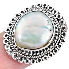 925 silver 12.04cts natural white pearl solitaire ring jewelry size 7.5 p21428