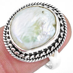 925 sterling silver 9.63cts natural white pearl solitaire ring size 8.5 p21440