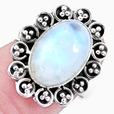 5.13cts natural rainbow moonstone 925 silver solitaire ring size 6.5 p21453