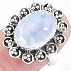 5.31cts natural rainbow moonstone 925 silver solitaire ring size 6.5 p21468