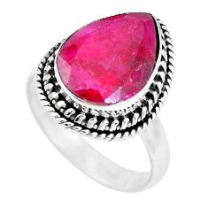 6.10cts natural red ruby 925 sterling silver solitaire ring size 7.5 p21495