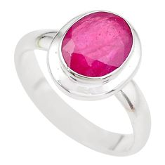 4.40cts NATURAL RED RUBY 925 STERLING SILVER SOLITAIRE RING SIZE 8 P21621