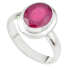 4.22cts NATURAL RED RUBY 925 STERLING SILVER SOLITAIRE RING SIZE 5.5 P21622