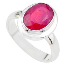 4.40cts NATURAL RED RUBY 925 STERLING SILVER SOLITAIRE RING SIZE 7 P21623